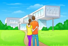 Embracing In Front Of New Big Modern House Royalty Free Stock Image