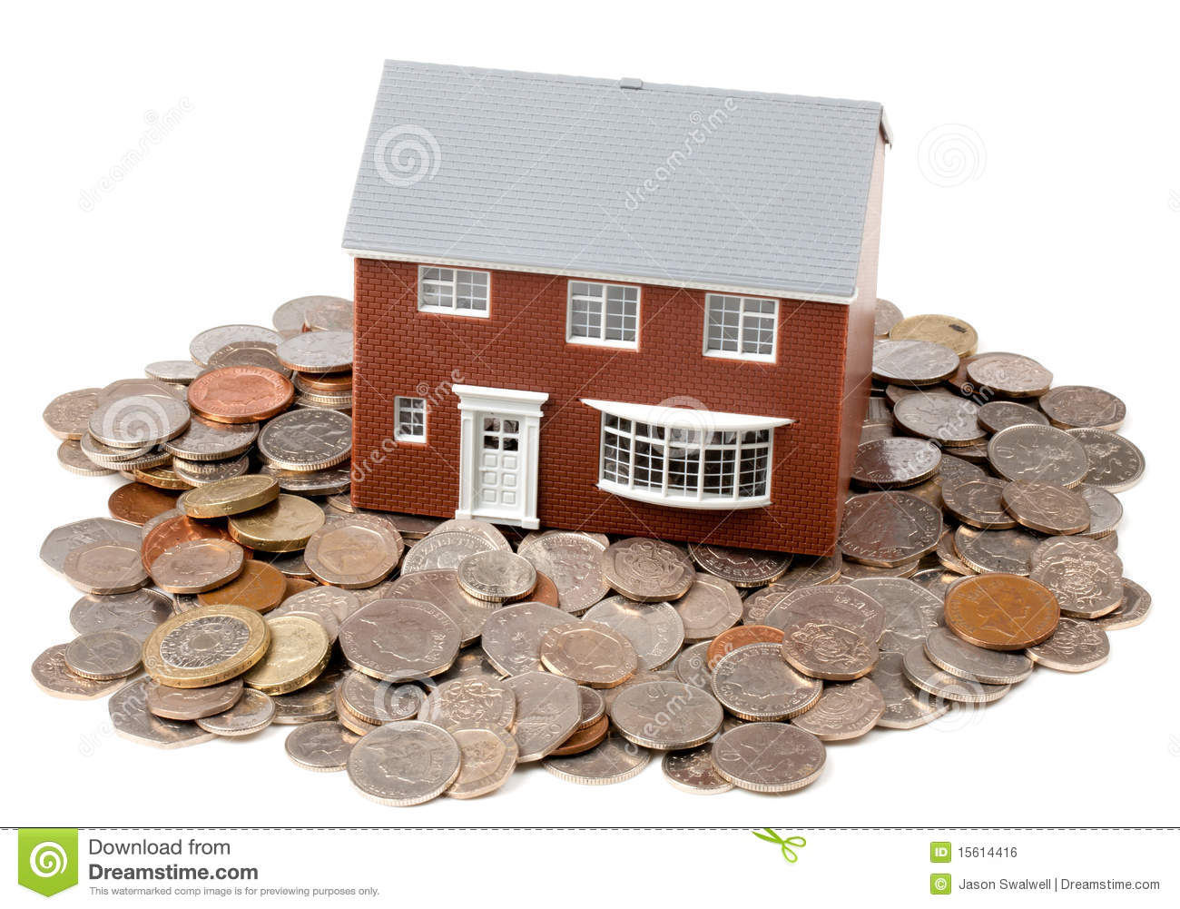 Family House Sat On A Pile Of Loose Coins