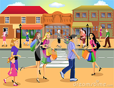Historic Downtown Clipart Shopping Downtown Busy People