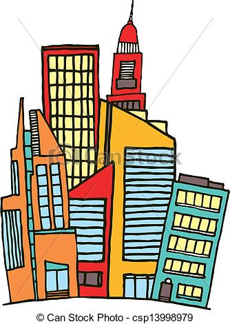Of Colorful Downtown Vector City Csp13998979   Search Clipart