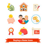 Real Estate House Mortgage Loan Buying Icons Royalty Free Stock
