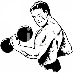 Royalty Free Clipart Image  Black And White Muscular Man Lifting A