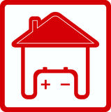 Sign House With Battery In Home Royalty Free Stock Photography