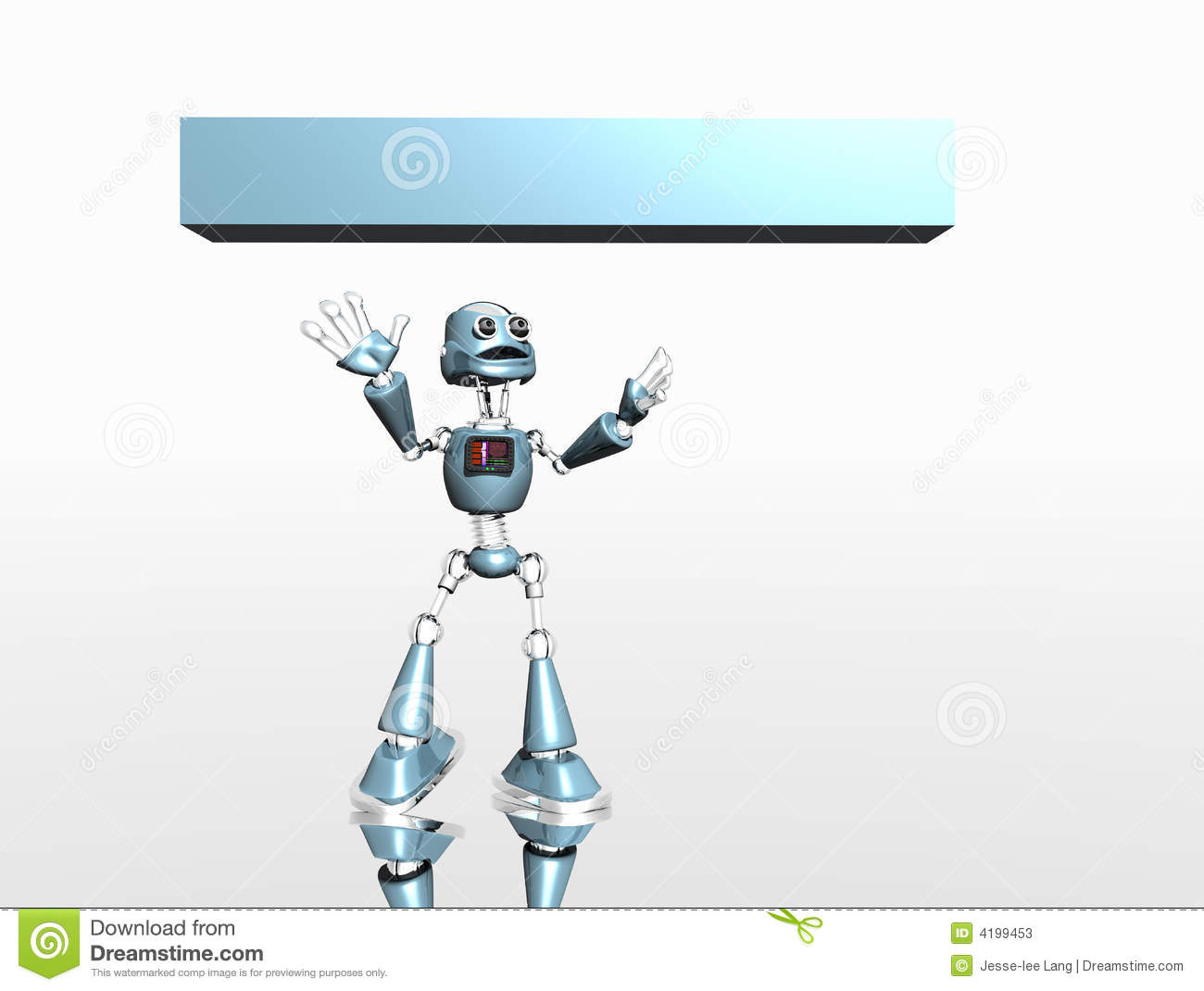 Silly Robot And Banner Stock Photos   Image  4199453