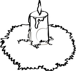 Black And White Cartoon Of A Tabletop Wreath With A Burning Candle In