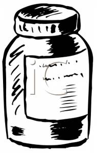 Black And White Pill Bottle   Royalty Free Clipart Picture