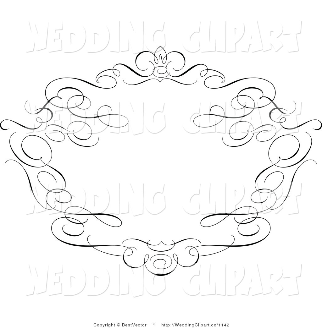 Black And White Swirl Frame Wedding Ornate Crown And Swirl Frame