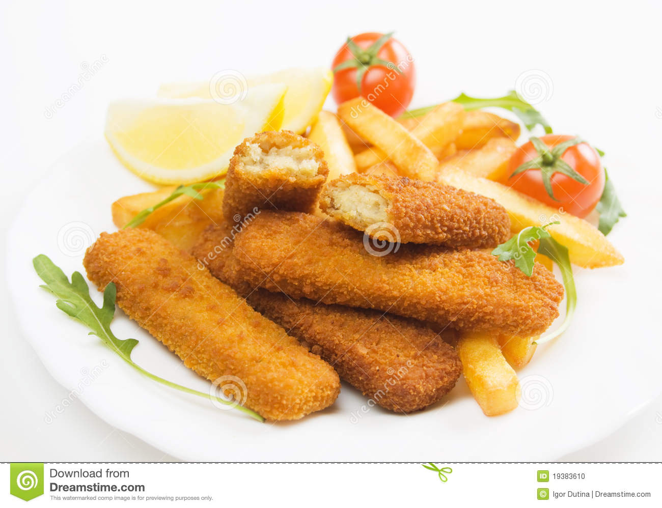 Breaded Fish Sticks Served With French Fries And Cherry Tomato