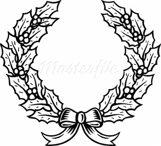 Christmas Wreath Black And White Clipart - Clipart Suggest