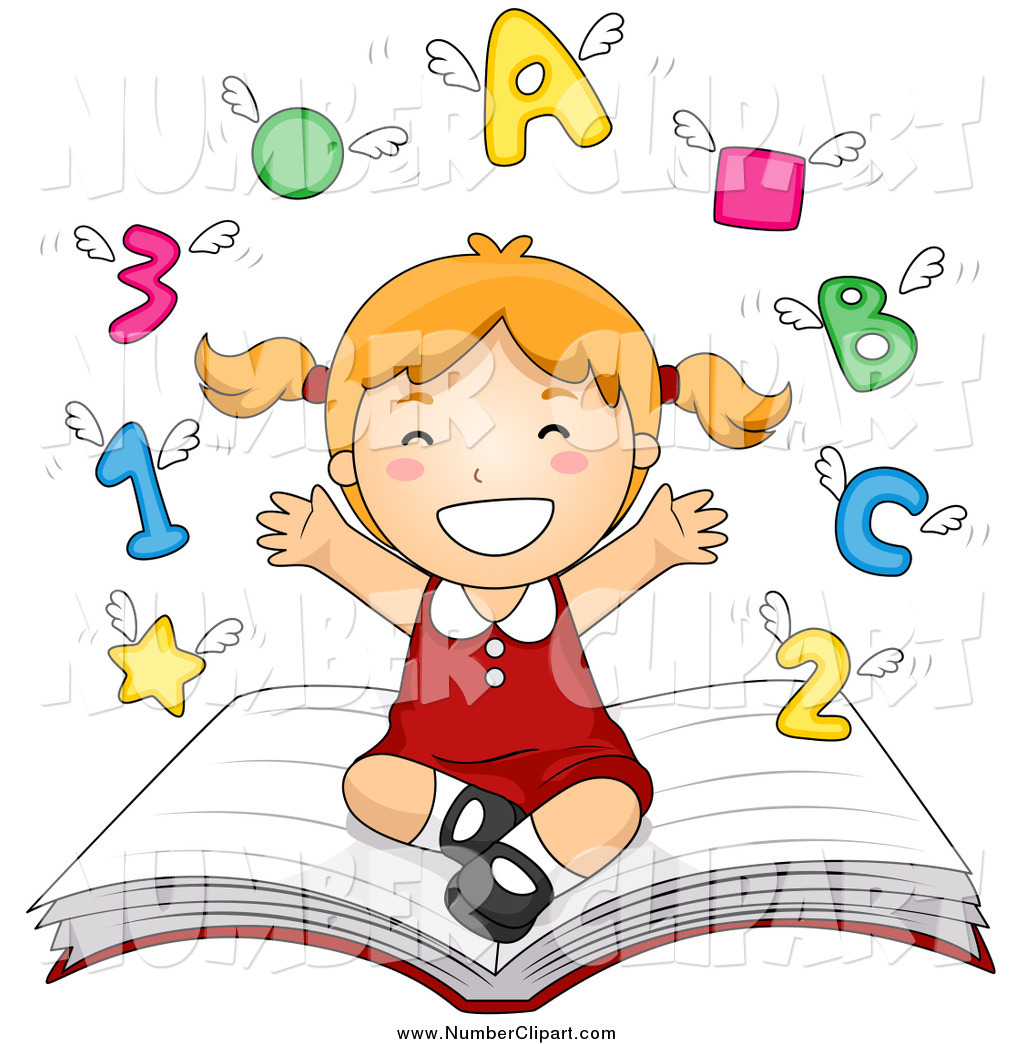 Clip Art Of A Happy School Girl Sitting On A Book With Shapes Letters