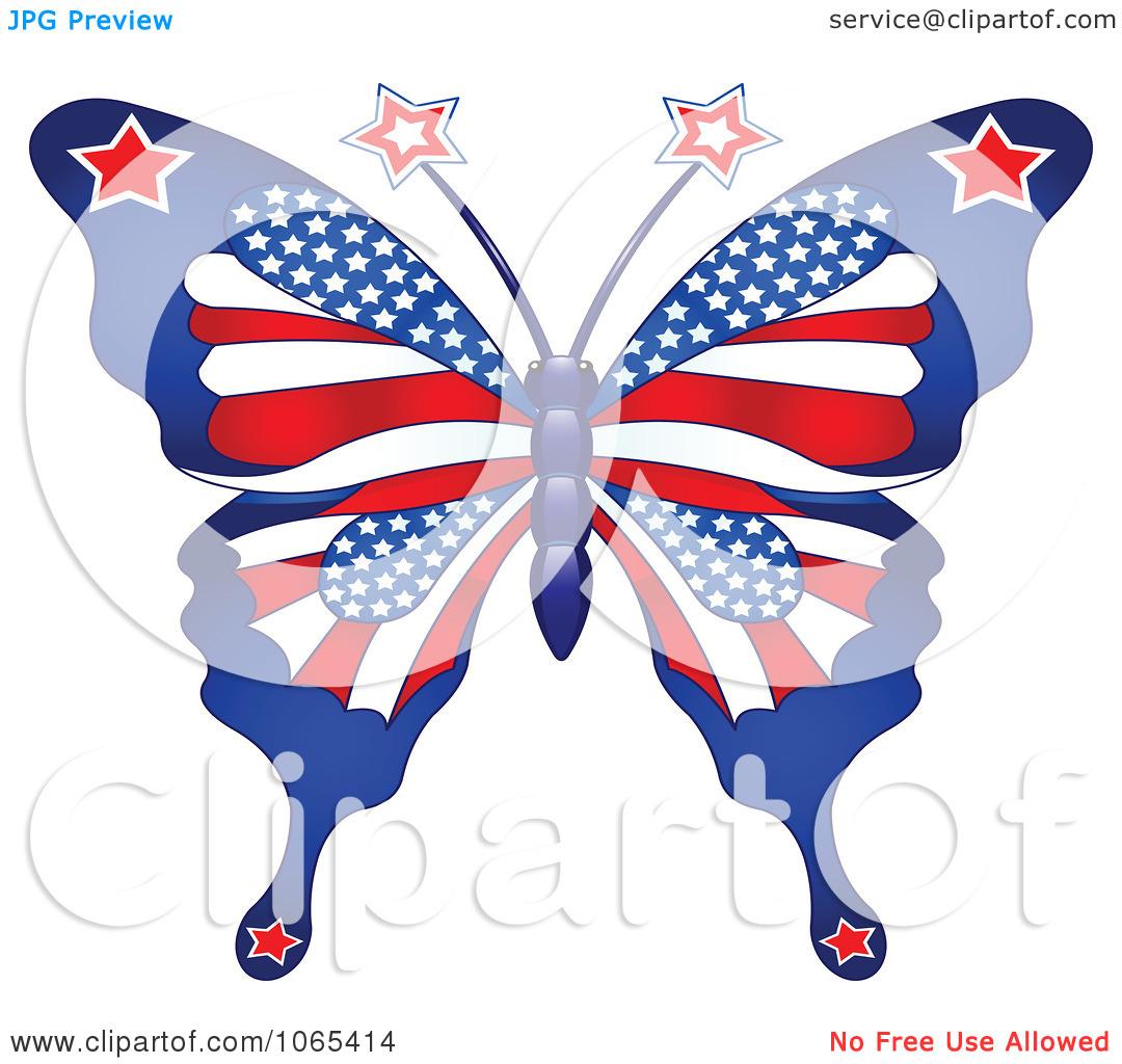 Clipart American Patriotic Butterfly   Royalty Free Vector