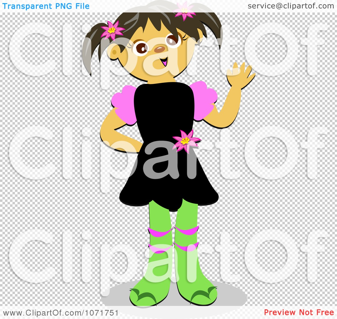 Clipart Friendly Little Girl Waving   Royalty Free Vector Illustration