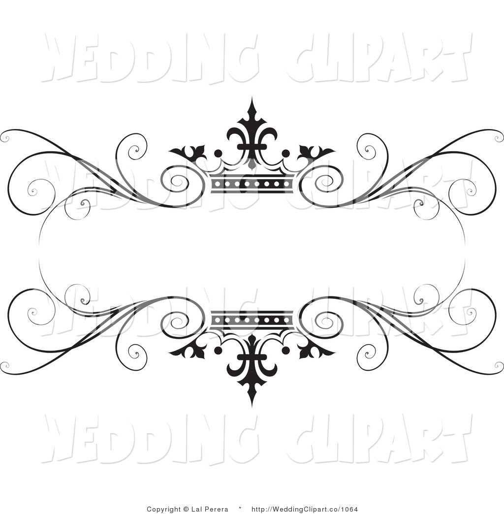 Clipart Of A Wedding Ornate Black Swirl And Crown Frame By Lal Perera