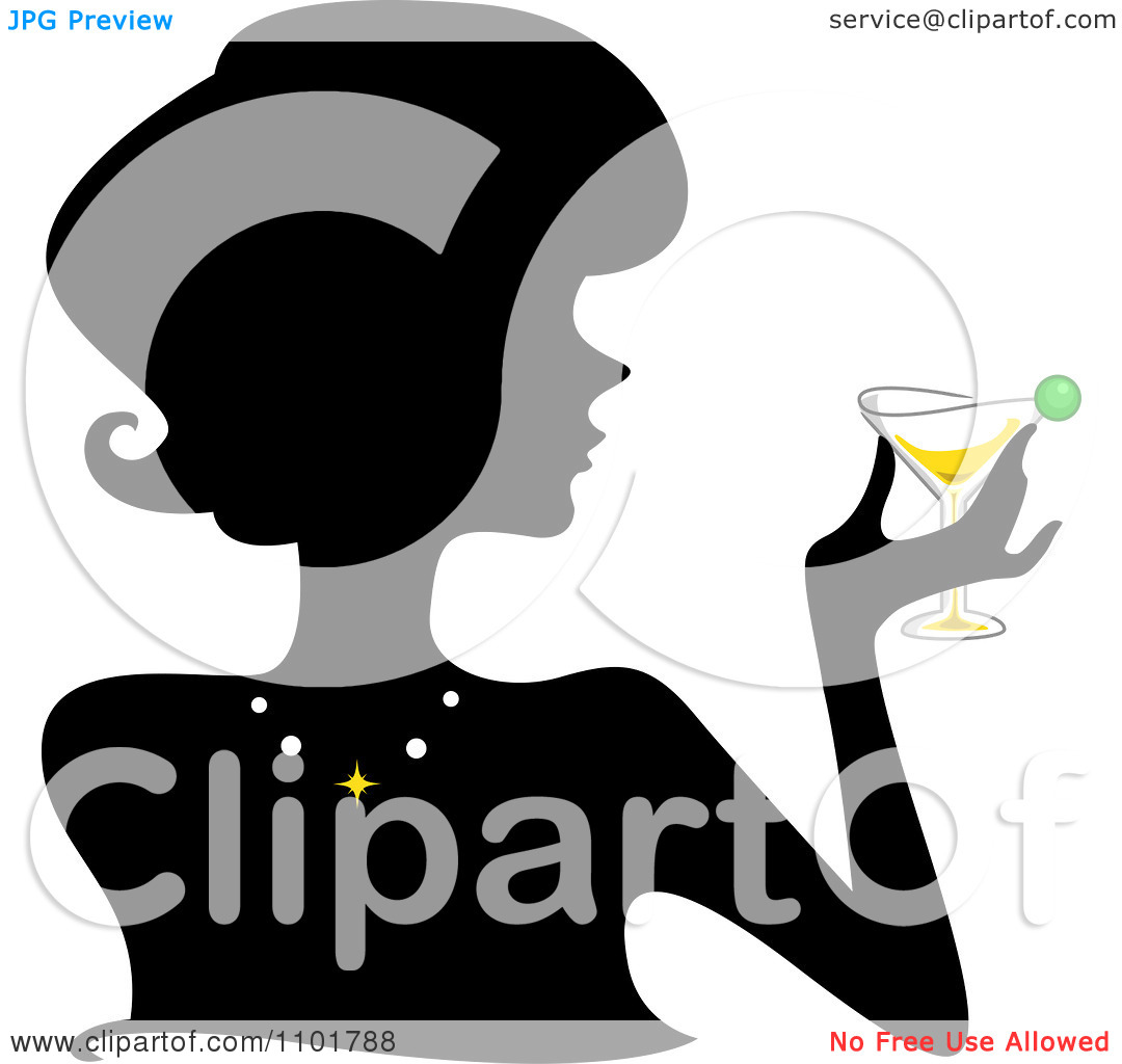 Clipart Silhouetted Woman Holding A Martini   Royalty Free Vector