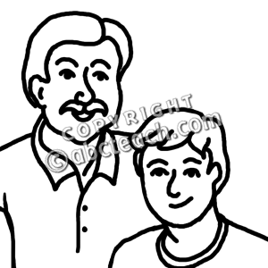 Father Clipart Clip Art  Father And Son B W
