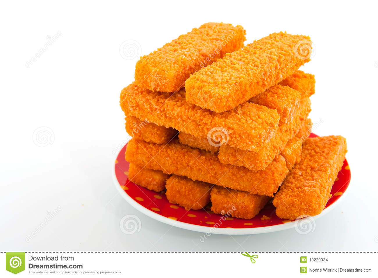 Fish Sticks Isolated Over White