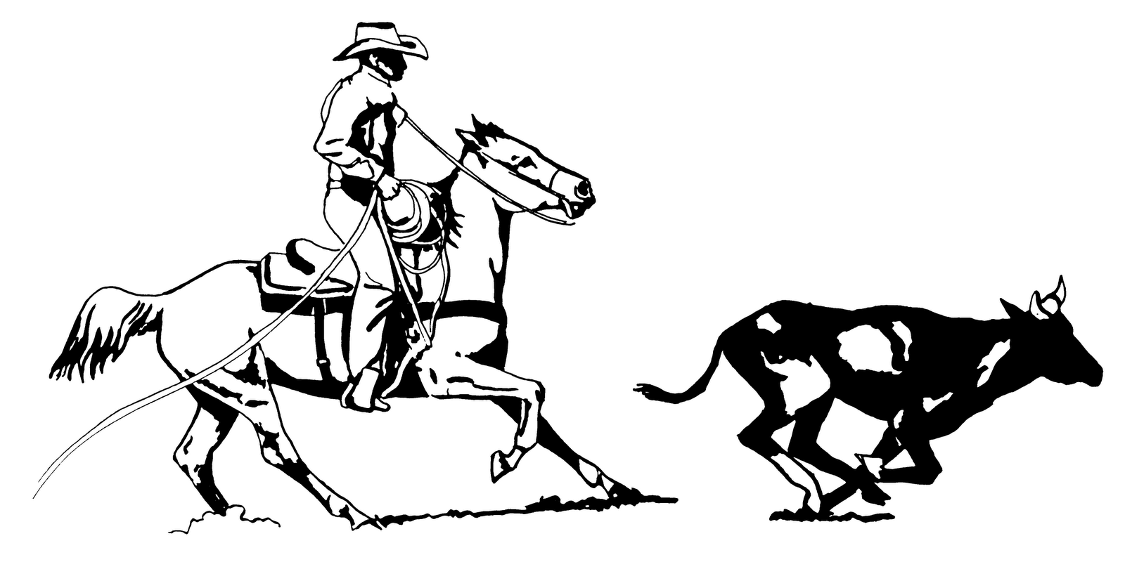 country western black and white clipart