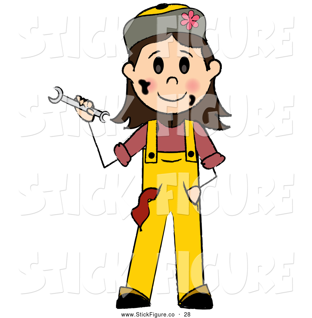 Friendly Caucasian Girl Mechanic Holding A Wrench By Pams Clipart