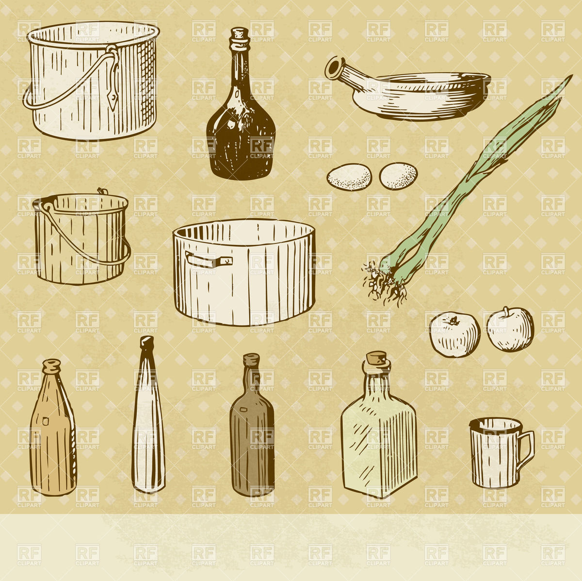 Kitchen Tools Set  Vintage Looking Image And Place For Text 23748