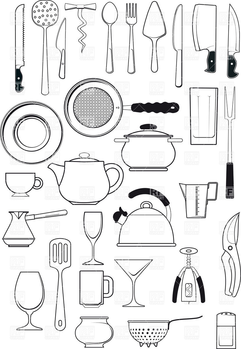 Kitchen Utensils Silhouettes Download Royalty Free Vector Clipart
