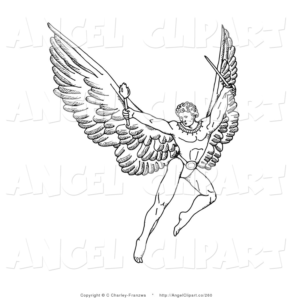 Guardian Angel Black And White Clipart - Clipart Kid