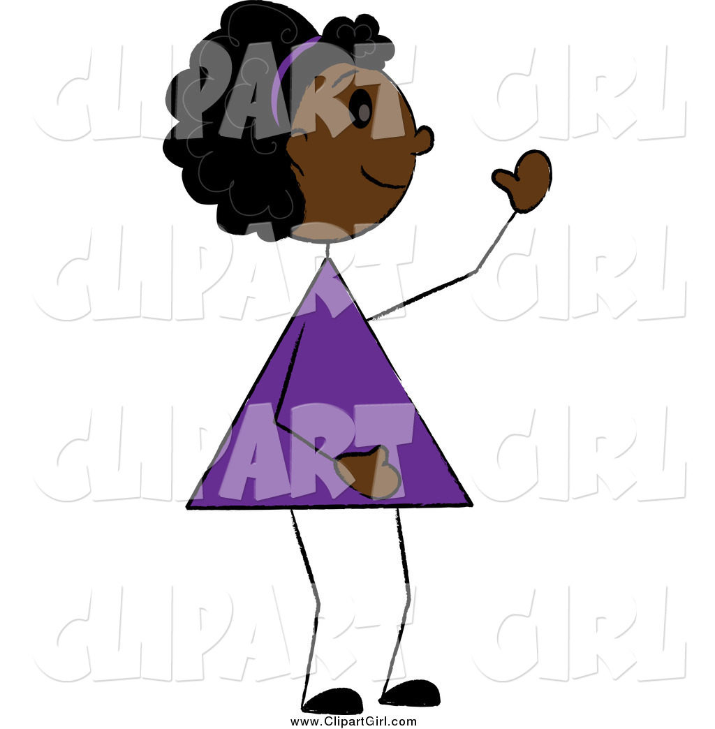 Preview  Clip Art Of A Friendly Black Girl Waving By Pams Clipart