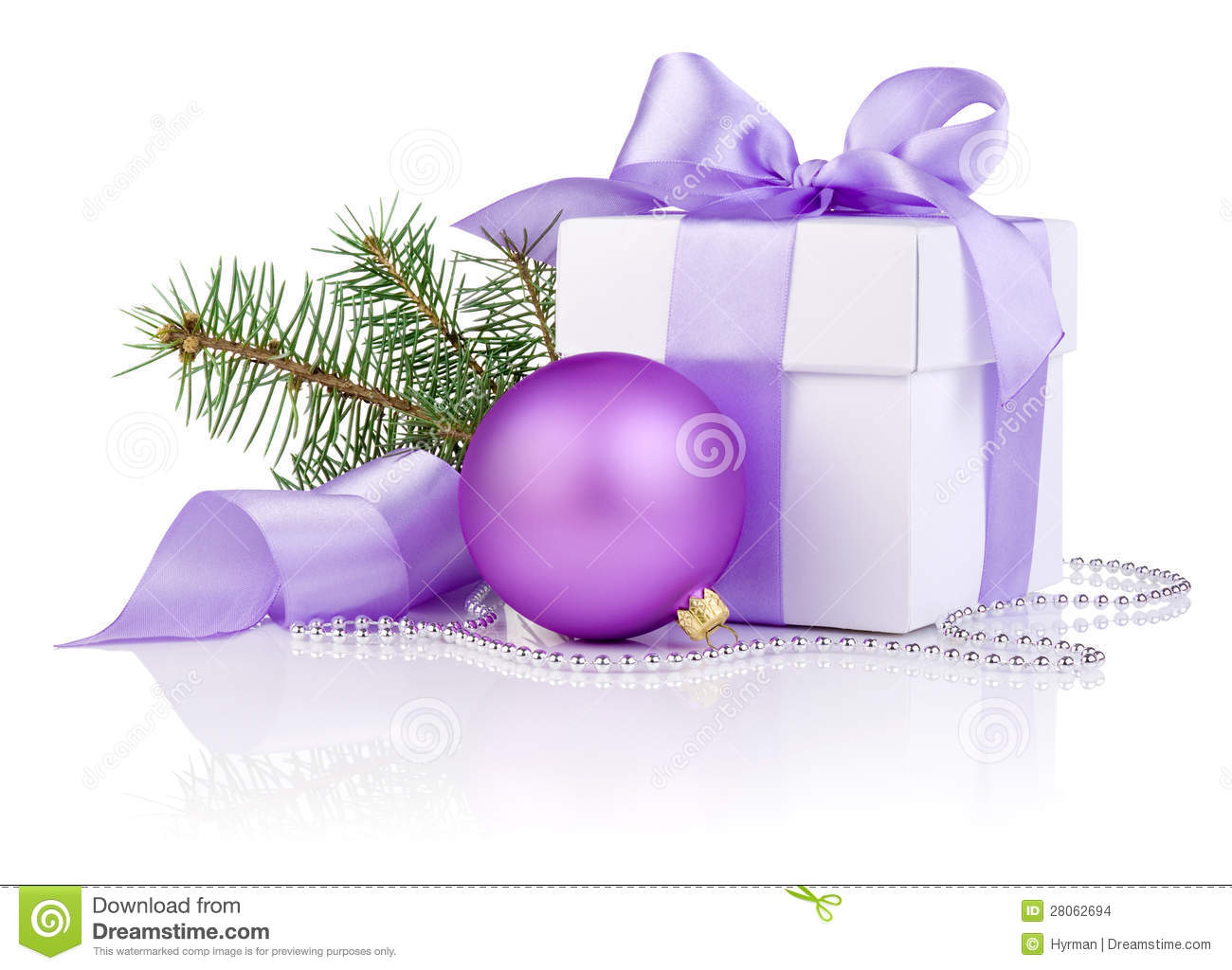 Purple Present Bow Christmas Gift With Purple