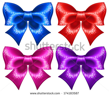 Raster Illustration   Festive Bows With Glitter    Stock Photo