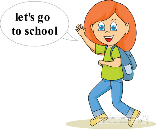 School   Girl Going To School   Classroom Clipart