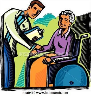 Stock Illustration Of Doctor Talking To A Patient In A Wheelchair