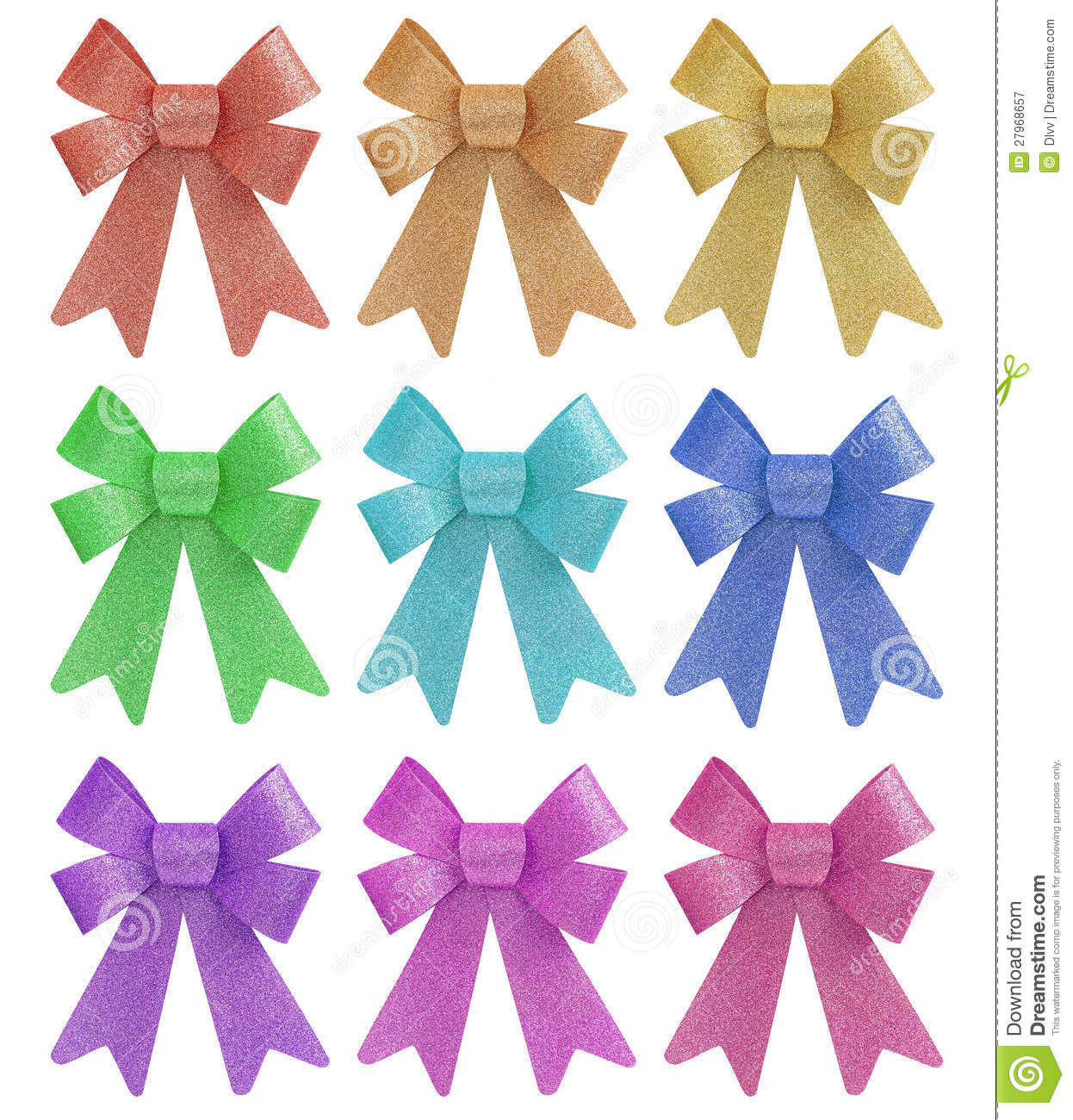 Tinted Pastel Colors Glitter Gift Bow Set Royalty Free Stock