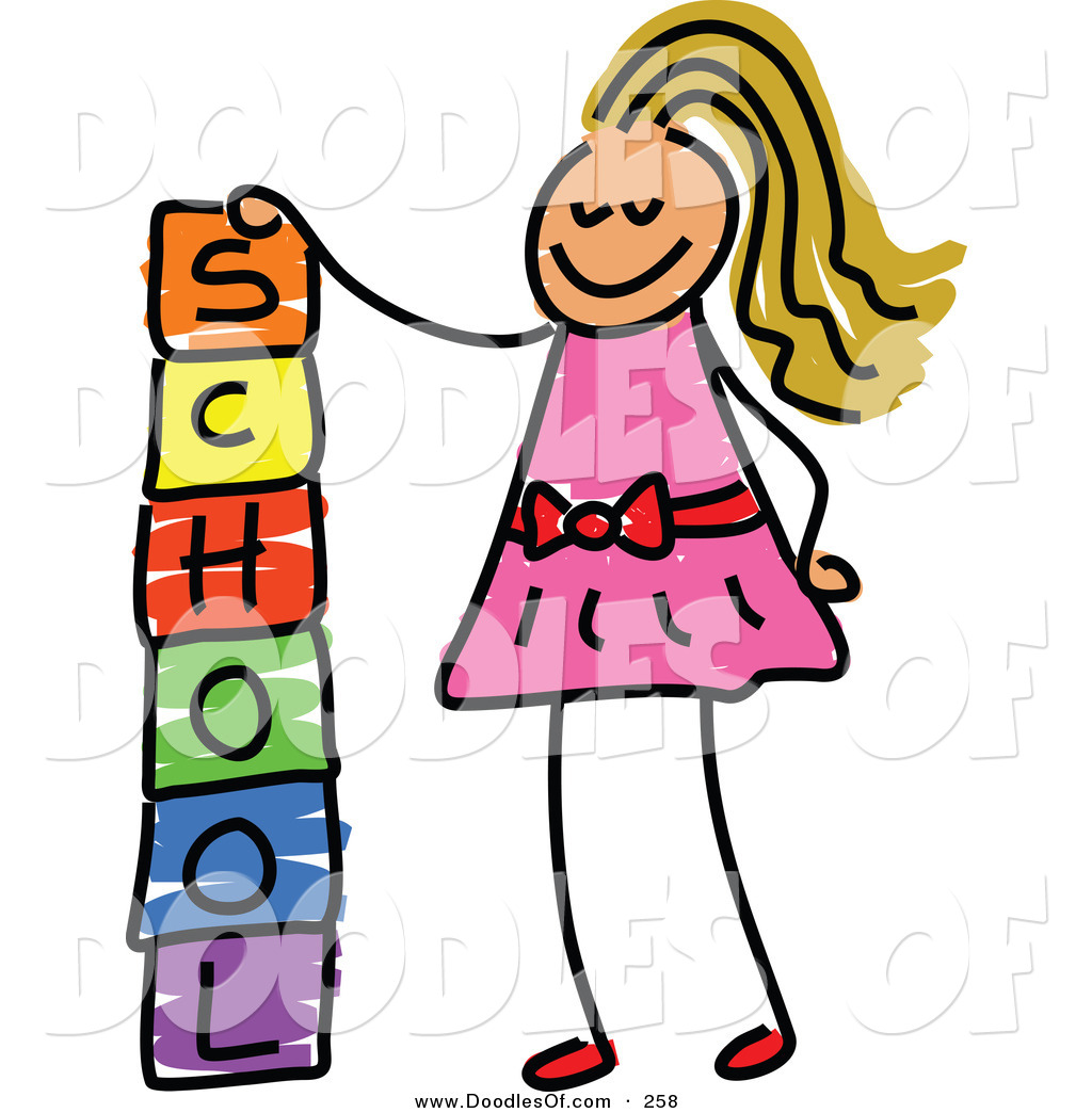 Vector Clipart Of A Childs Sketch Of A Happy Girl Stacking School