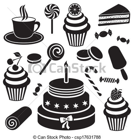 Vector Of Desserts And Sweets Icon   Black Desserts And Sweets Icon