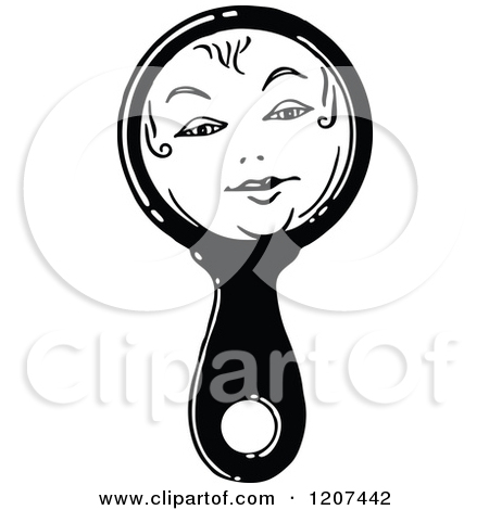 Vintage Black And White Hand Held Mirror With A Face By Prawny Vintage