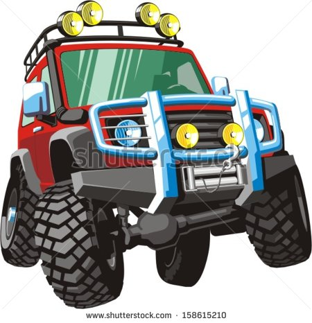 Four Wheel Drive Vehicle For Heavy Traffic Conditions   Stock Vector
