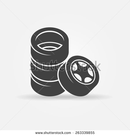 Tire Icon   Vector Stack Of Four Wheels Symbol Or Logo   Stock Vector