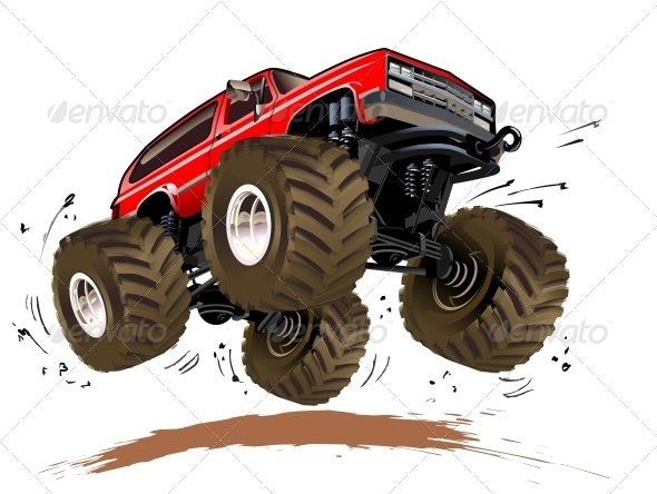 Vector Cartoon Monster Truck  Available Hi Res Jpg Eps 10 And Ai Cs4
