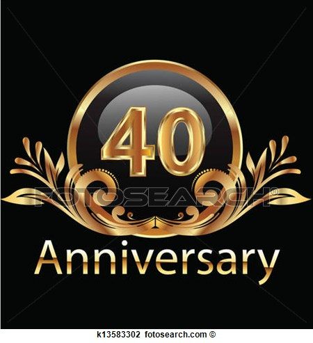 40 Years Anniversary Birthday View Large Clip Art Graphic