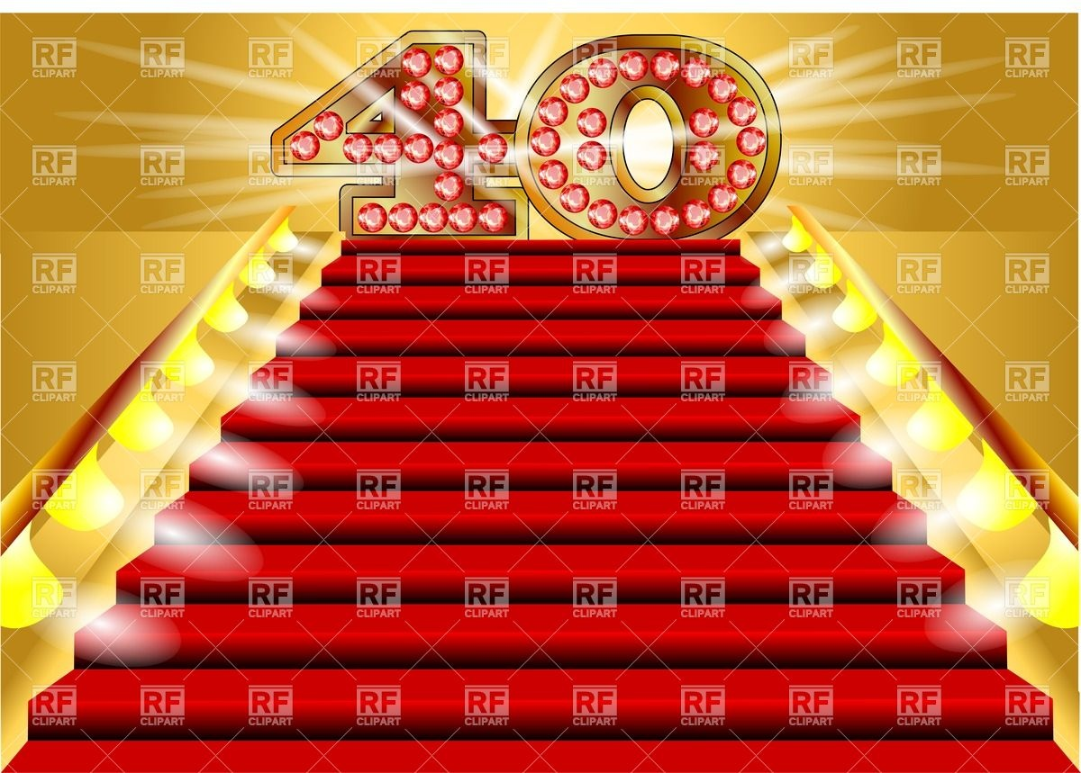 40 Years Anniversary Symbol On The Lighted Stairs Download Royalty