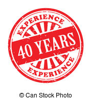 40 Years Experience Grunge Rubber Stamp Vector Clipart