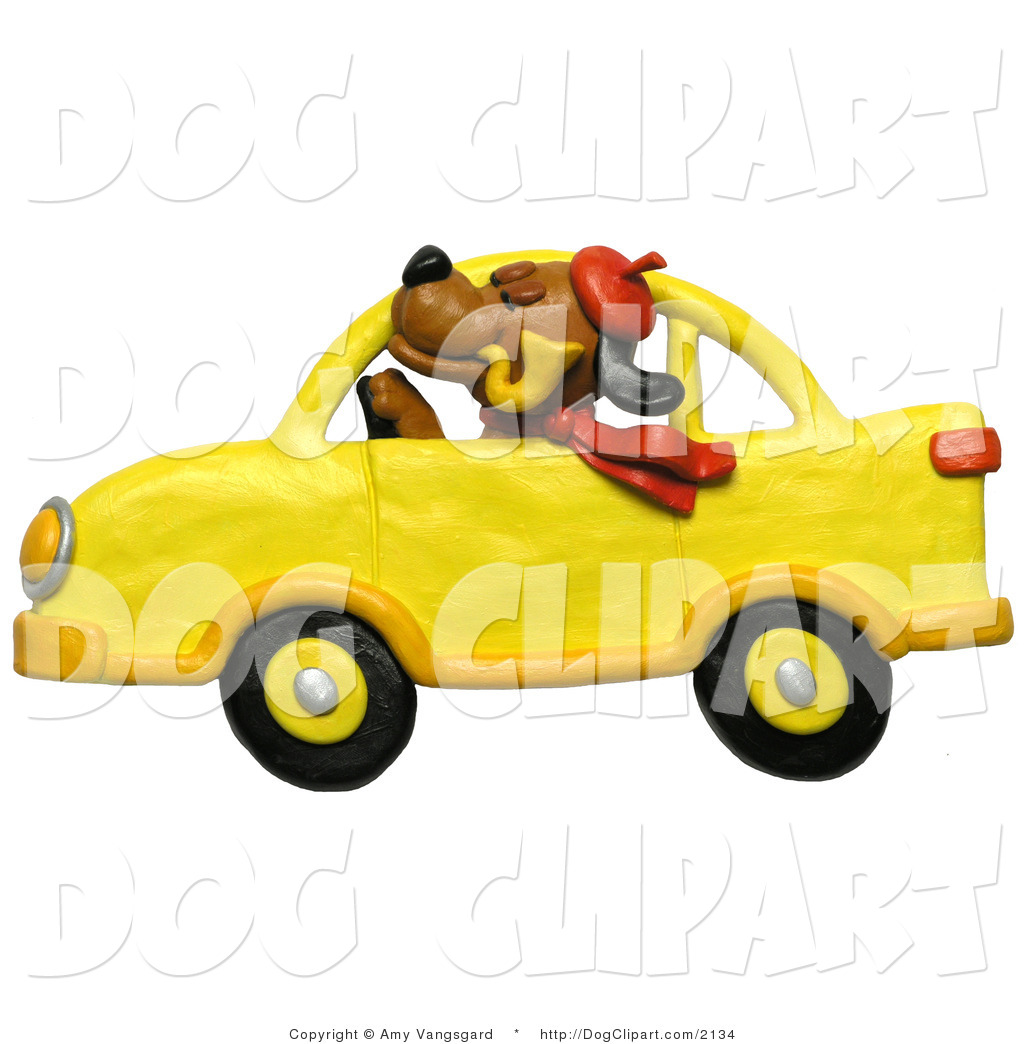 Brown Dog Smoking A Pipe And Driving A Yellow Car By Amy Vangsgard