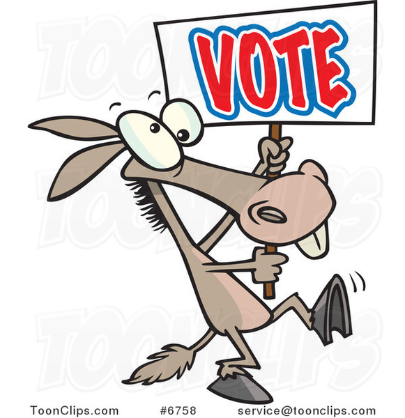 Cartoon Donkey Carrying A Vote Sign  6758 By Ron Leishman