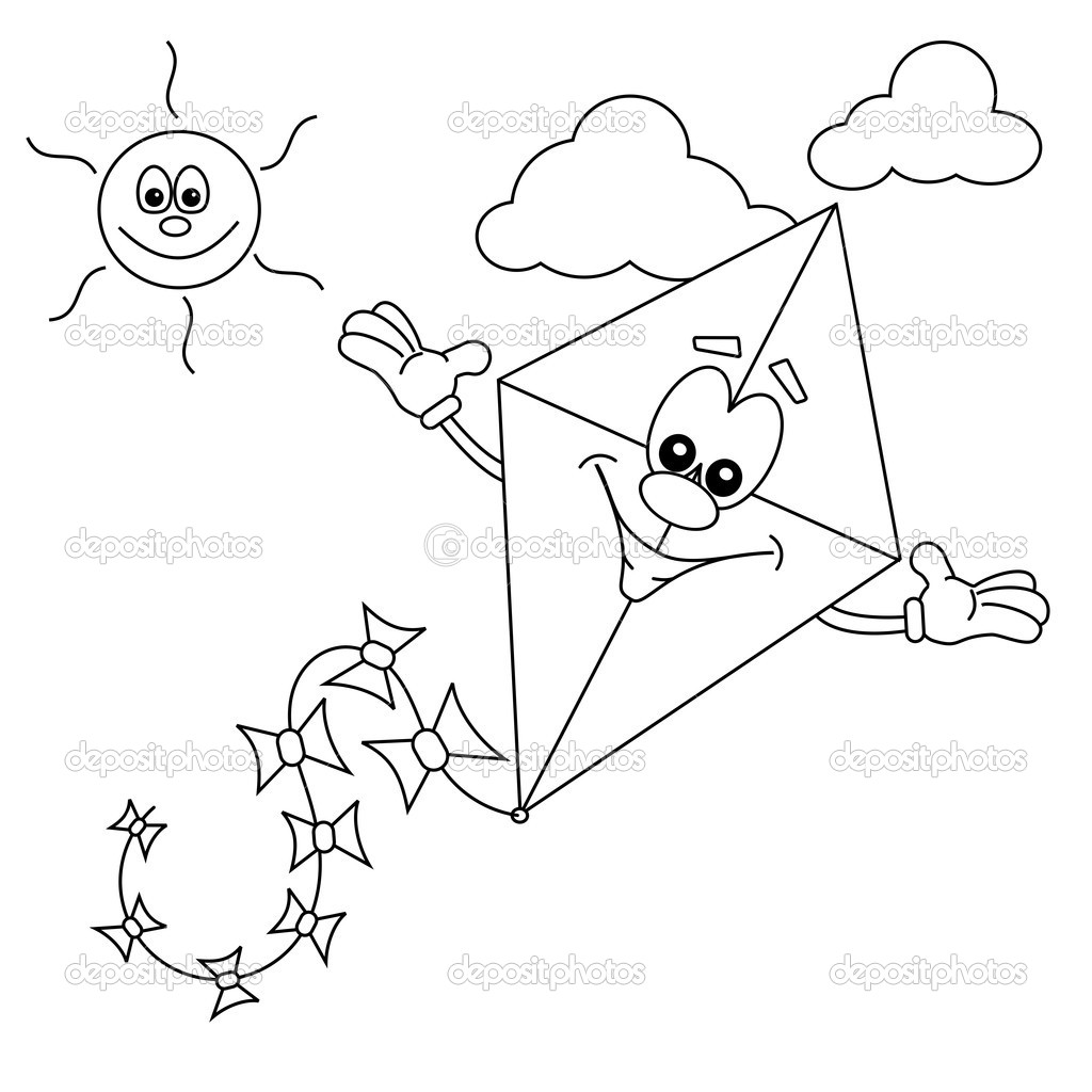 Line Drawing Kite : Kite line clipart suggest