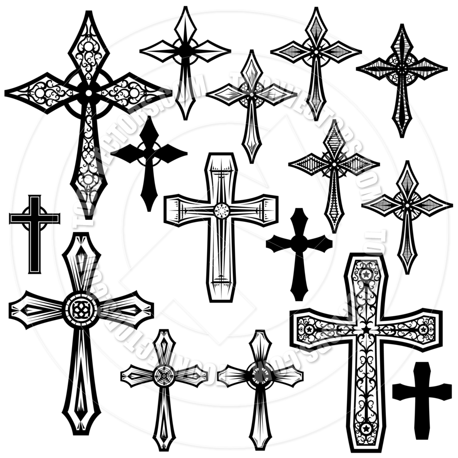 Christian Cross Clip Art Christian Cross Designs By Koq Creative Toon