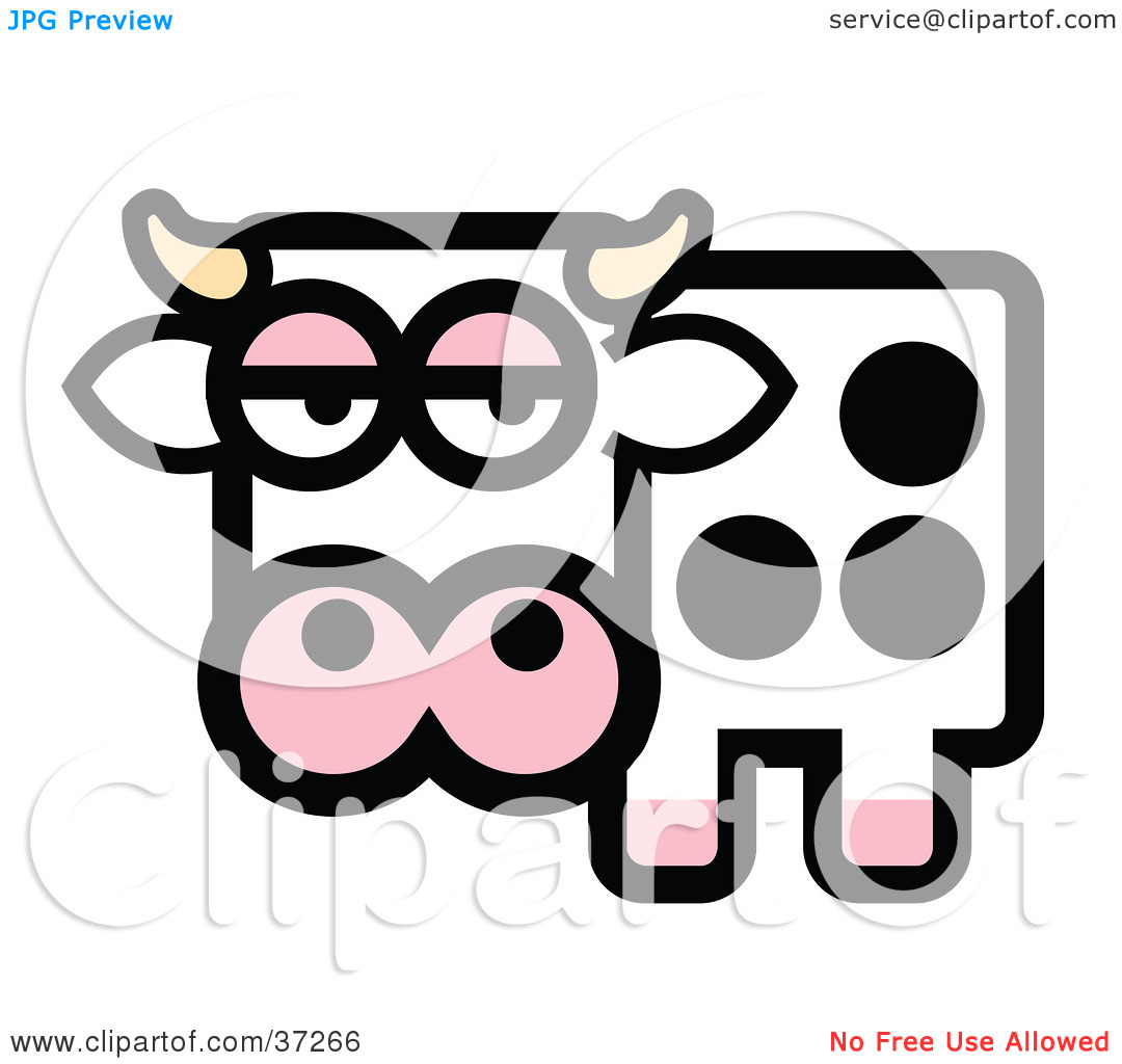 Clipart Illustration Of A Black And White Spotted Dairy Cow With Horns