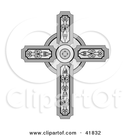 Clipart Illustration Of A Medieval Christian Cross With Ornate Designs