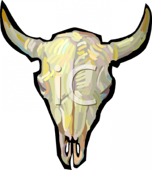 Cow Skull With Horns   Royalty Free Clipart Picture