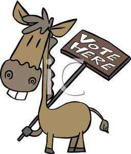 Donkey Holding A Vote Here Sign   Royalty Free Clipart Picture