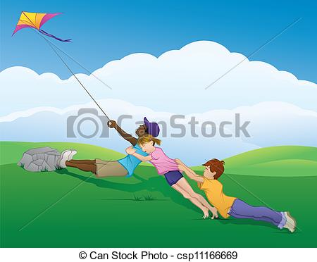 Kite they team together to keep the kite from flying off into the