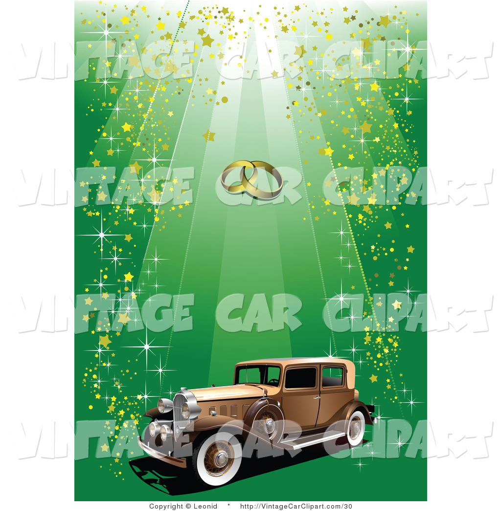 Larger Preview  Clipart Of A Brown Vintage Car Under Wedding Bands On